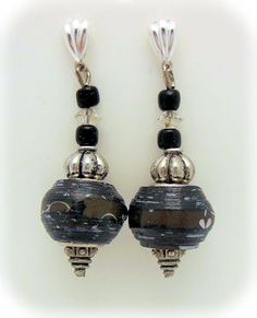 Black Pandora Style Paper Bead Earrings Made by Julie A Bolduc.  Tutorial on How to make Pandora Style Paper Beads!