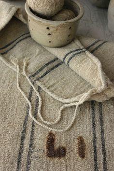 Wonderful RARE grainsack from Europe ~ beautiful HEAVY organic hemp fabric ~ a homespun Grain sack to remember ~ www.textiletrunk.com