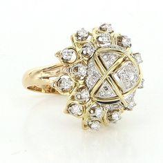 Vintage 14 Karat Yellow Gold Diamond Dome Large Cocktail Ring Fine Jewelry