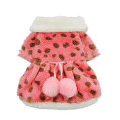 Pink Faux Furred Dog Dress for Pet Dog Coat Fuzzy Winter Clothes, Small - http://www.thepuppy.org/pink-faux-furred-dog-dress-for-pet-dog-coat-fuzzy-winter-clothes-small/