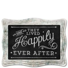 """9.5"""" Chalk Sign And They Lived Happily Ever After"""