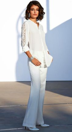 Madeleine Pure Silk Blouse and Trousers Wool White
