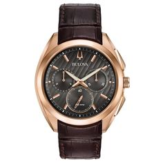 Bulova Men's 97A124 Stainless Steel and Titanium Rose Gold Tone Curv Collection 5 Hand Chronograph Watch