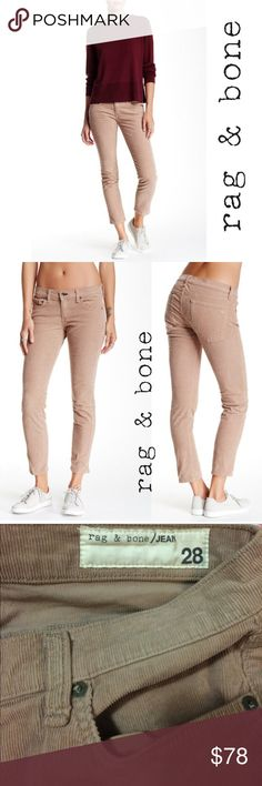 """FLASH SALE!! Rag & Bone Tomboy Corduroy Pant A low-rise jean fits straight through the hips and slim through the legs. 98% cotton, 2% polyurethane.  - Zip fly with button closure - 5 pocket construction - Tomboy fit - Approx. 7.5"""" rise, 28"""" inseam - Made in USA  Sizing: 24=00, 25=0, 26=2, 27=4, 28=6, 29=8, 30=10, 31=10-12, 32=12 rag & bone Jeans Skinny"""