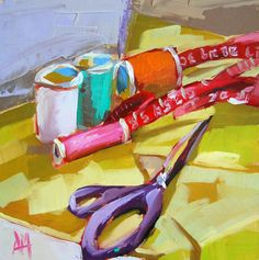 Sewing Supplies original still life oil painting by Moulton 6 x 6 inches on panel  prattcreekart