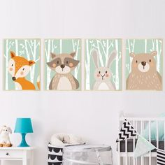 Baby Room Paint Idea Elegant forest Cute Animals Fox Rabbit Bear Giraffe Canvas Painting Art Print Poster Nursery Wall Picture Kids Baby Room Home Decor