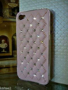 LEATHER QUILTED CASE for Iphone 4 4S ~ 100% SWAROVSKI CRYSTAL ELEMENTS ~ Pink!