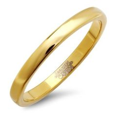 Tungsten Carbide Men's Ladies Unisex Ring Wedding Band 2MM Dome Gold Plated Polished Shiny Comfort Fit (Available in Sizes 5 to 15): Jewelry: Amazon.com