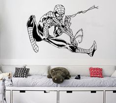 Flying Spiderman Wall Art Sticker Childrens Retro by atLoudDesigns