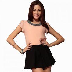 Women Top Blouse Beading Elegant Chiffon Casual Sleeve Fashion Clothing Shirt #Unbranded #Blouse #Casual