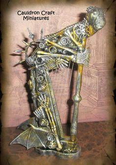Miniature Steampunk Harp by grimdeva