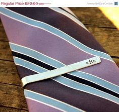 SALE Custom Tie Bar Clip Monogram Personalized Mens gift for groom, groomsmen, fathers day, Christmas