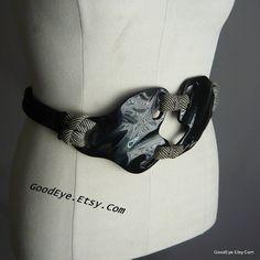 Vintage DOG BONE Belt Designer VIGNERI 1982 Signed by GoodEye