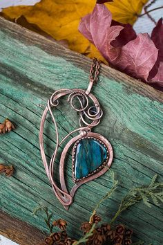 Labradorite heart pendant Wire wrapped necklaces for women