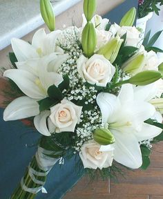 Lilly Bouquet Wedding, Rose And Lily Bouquet, White Wedding Bouquets, Bride Bouquets, Boquette Wedding, Floral Wedding, Wedding Decor, Bride Flowers, Wedding Flowers