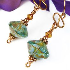 Blue Green Aqua Earrings Czech Picasso Glass Copper Crystals Handmade | PrettyGonzo - Jewelry on ArtFire