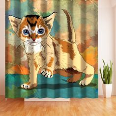 Wimaha Cute Lion Cat Fabric Polyester Shower Curtain Mildew Resistan Safe Eco Friendly