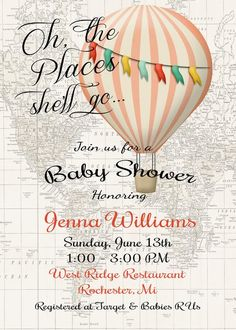 Hot Air Balloon Invitation Baby Girl Shower Invitation | Sugar and Spice Invitations