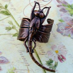 Steampunk ring earring MAGIC Spell DRAGONFLY ADJUSTABLE ring----ear cuff. $14.99, via Etsy.