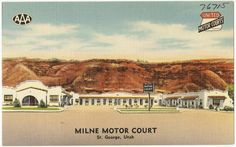 File name: 06_10_020669 Title: Milne Motor Court, St. George, Utah Created/Published: Tichnor Quality Views, Reg. U. S. Pat. Off. Made Only by Tichnor Bros., Inc., Boston, Mass. Date issued: 1930 - 1945 (approximate) Physical description: 1 print (postcard) : linen texture, color ; 3 1/2 x 5 1/2 in. Genre: Postcards  Subject: Motels Notes: Title from item. Collection: The Tichnor Brothers Collection Location: Boston Public Library, Print Department Rights: No known restrictions