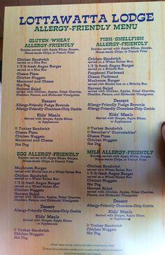 Lottawatta Lodge Allergy Friendly Menu