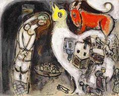 "inezlin: "" Marc Chagall - Le couple au poteau, esquisse, 1951. Oil and tempera on canvas, 13 ½ x 16 ¾ in. (34.5 x 42.5 cm.). """