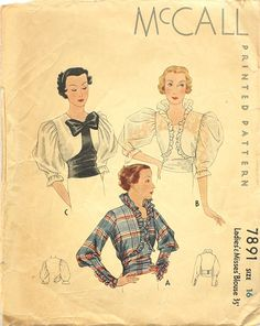 McCall Ladies & Misses' Blouse [insert your photos of this pattern made up] Vintage Dress Patterns, Clothing Patterns, Vintage Dresses, Vintage Clothing, Retro Outfits, Vintage Outfits, Vintage Fashion, 1930s Fashion, Moda Vintage