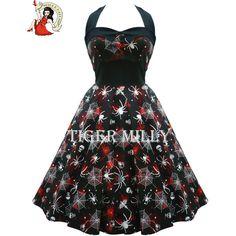 HELL BUNNY 50's spider SETH goth DRESS Halloween BLACK found on Polyvore