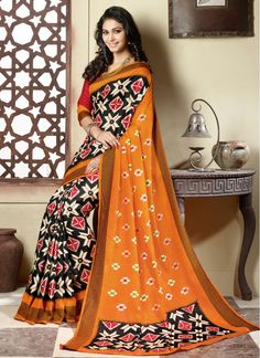 Casual Black and Orange Art Silk Designer Traditional Sarees