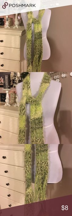 Pretty Green Long Scarf Pretty green long crochet scarf. Excellent condition Accessories Scarves & Wraps
