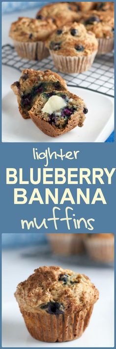 Lightened-up Healthy Low-Fat Blueberry Banana Muffins. Reduced sugar ...