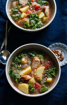 Roasted Tomato, Sausage, Kale, and Potato Soup from www.aidamollenkamp.com