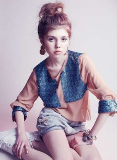 Delicate Grunge Editorials - The Olivia Malone Pretty in Punk Displays Distressed Denim and Pastels (GALLERY)