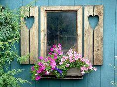 side window- heart shutters