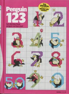 Penguin abc 4 of 4 Cross Stitch Numbers, Cross Stitch Letters, Cross Stitch Baby, Cross Stitch Animals, Cross Stitch Charts, Cross Stitching, Cross Stitch Embroidery, Animal Alphabet, Alphabet And Numbers