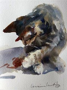 """Involved Cat"" - Original Fine Art for Sale - © Lorraine Lewitzka"