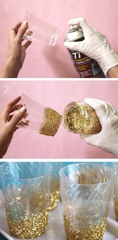 Glitter dip glasses:  You can apply glue to the bottom of the glass and then dip it in glitters to get glitter-dipped glasses. You can make use of these shimmering glasses to serve juices and water during the party.