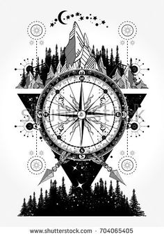 Mountains and antique compass tattoo art. Compass, mountains and night forest boho style, t-shirt design. Adventure, travel, outdoors, symbol