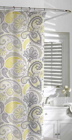 dress your bathroom for dcor success in our detailed and delightful paisley shower curtain