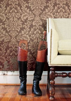 Parisian Damask #wallpaper in #metallic on #brown from the Texture Resource 2 collection. #Thibaut