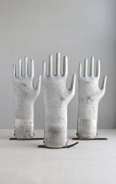 vintage industrial aluminum glove mold. If you like this then check out my shop for one of a kind handmade art and decor items https://www.etsy.com/shop/SalehDesigns?ref=si_shop industrial chic vintage reclaimed up cycled repurposed game of thrones gears steampunk welded steel sculptures eclectic decor