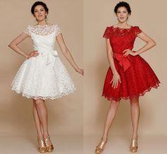 2014 Estilo Elegante Blanco Rojo Junior Vestidos de Dama de honor Bateau Apliques de Arco en la Cintura de Tuberías de Una Línea de Vestidos de Novia de Manga Corta Caliente Venta de OV