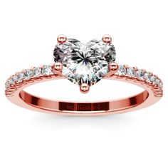 Scallop Diamond Engagement Ring in Rose Gold (1/5 ctw) | Heart