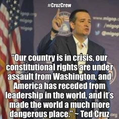 We have an CONSTITUTIONAL CRISIS, a TYRANT in power. America in TROUBLE, Europe and Middle East in CRISIS, and TED CRUZ has REAL DEAL Solutions! In GOD we Trust, The Only Solution Is The Constitution!!! #TedCruz2016