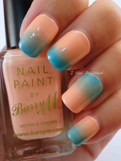 Gradient Nails  #nailart #peachnails #tealnails #nails #ifeelpolished - bellashoot.com