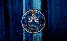 Download wallpapers 4k, FC Puebla, grunge, Liga MX, soccer, art, Primera Division, football club, Mexico, Puebla, stone texture, Puebla FC