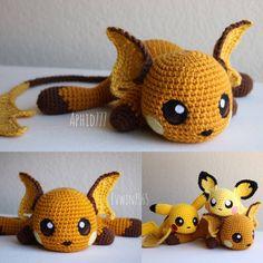 Raichu by on DeviantArt Pokemon Crochet Pattern, Pikachu Crochet, Kawaii Crochet, Crochet Patterns Amigurumi, Cute Crochet, Crochet Dolls, Yarn Crafts, Sewing Crafts, Crochet Gifts