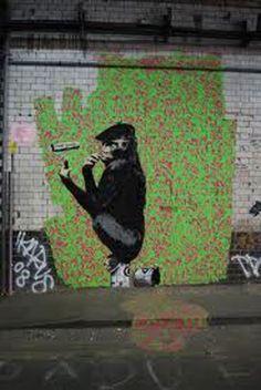 Banksy Gorilla Artist Shave Kong Graffiti - Leake Street, London