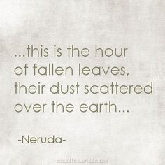 """~ Autumn ~ """". . . this is the hour of fallen leaves, their dust scattered over the earth . . . """" ~ Neruda #Autumn_Poetry"""