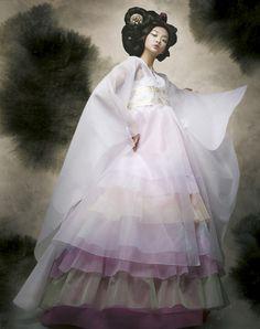 Modern hanbok white pastel